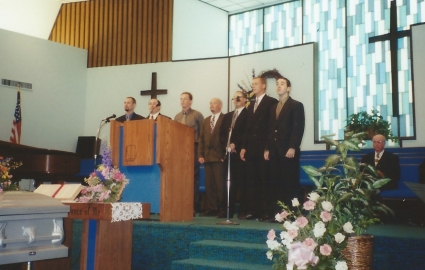 Some of the grandsons singing at my mom's funeral