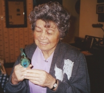 My mom with a blue something.
