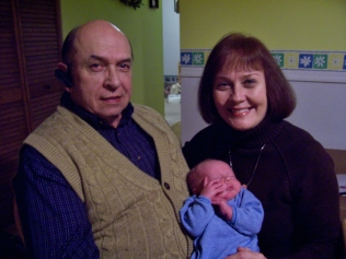 Asher with Grandma and Grandpa
