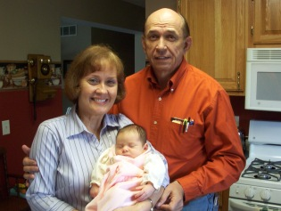 Grace with Grandma and Grandpa