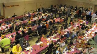 There is always a big crowd for Thanksgiving dinner.